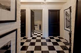 black and white marble floor transitional entrance foyer