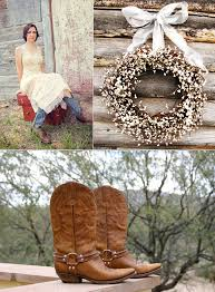 country western themed wedding bride wears cowboy boots rustic