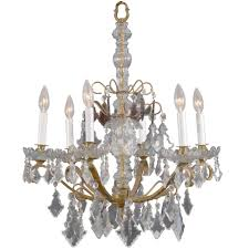 unusual vintage 6 light petite crystal italian chandelier for