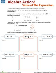 5th grade algebraic expressions worksheets find the value of the expression worksheet education