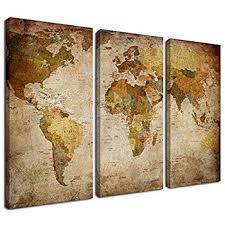 amazon com canvas wall art prints vintage world map painting