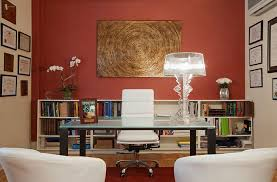 simple home office in bold red wall colors my projects