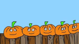 pumpkin cartoon pic 5 little pumpkins sitting on a gate youtube