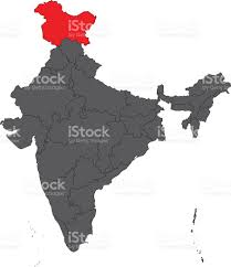 India World Map by Jammu And Kashmir Red On Gray India Map Vector Stock Vector Art