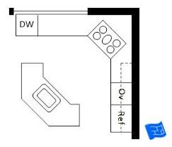G Shaped Kitchen Floor Plans Open Plan L Shaped Kitchen Layout With Angled Island L Shaped