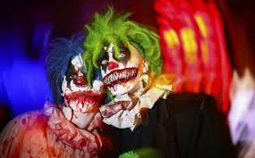 french police fight evil clowns and clown hunters