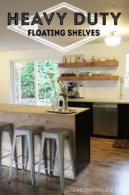 floating kitchen shelves with lights heavy duty floating shelves petite modern life