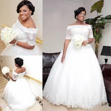 nigeria lace off shoulder wedding dresses sheer half sleeves