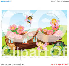 cartoon of butterfly fairies by a log house royalty free vector