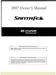 2007 hyundai santa fe owners manual seat belt airbag