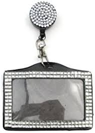 Rhinestone Business Card Holder Amazon Com New Shimmering Bling Rhinestone Id Badge Lanyard With