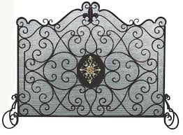 Single Fireplace Screen by Burnished Gold Iron Single Panel Fleur De Lis With Medallian Fire