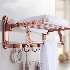 rose gold folding bathroom towel rack wall mount towel rail bar