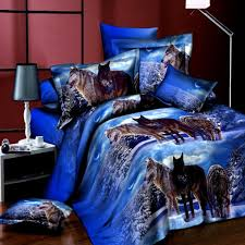 Cheap Bed Sets Queen Size 4pcs Suit 3d Snowfield Wolf Reactive Dyeing Polyester Fiber