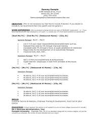 Manager Resume Template Microsoft Word Restaurant Resume Template Restaurant Manager Resume Sample