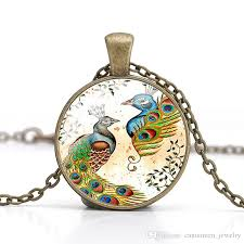 diy necklace wholesale images Wholesale peacock pendant necklace animals dome glass cabochon jpg
