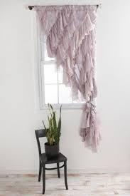 White Ruffle Curtain Panels Single Curtain Panel Foter