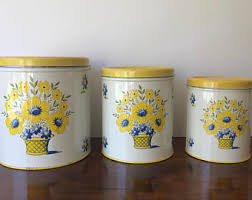 yellow canister sets kitchen yellow canisters etsy