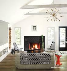 boral brick for a contemporary living room with a sputnik