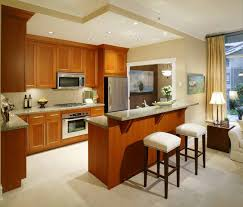restful kitchen with mdf cabinets and chic small breakfast bar in