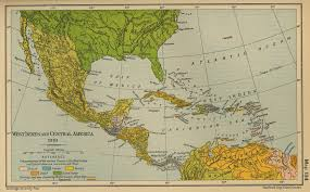 Map Of Middle America by Of The West Indies And Central America 1910