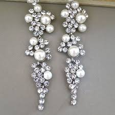 and pearl chandelier earrings shop chandelier rhinestone and pearl earrings on wanelo