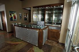 Glass Metal And Wood Reception Desk Custom Wooden Cabinets And