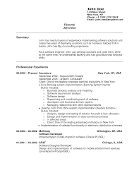 Sle Resume For A Banking experience in a resume city espora co