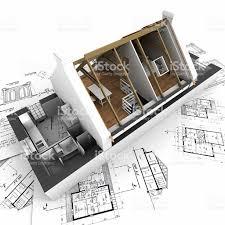 roofless model house on architect blueprints stock photo 92273857