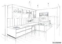 comment dessiner une cuisine 111089068 croquis cuisine contemporaine perspective comment dessiner