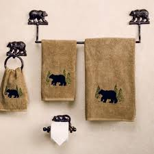 bathroom kodiak bear cast rustic towel bars in black for bathroom