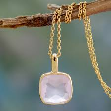 gold rose quartz necklace images Hand made gold vermeil faceted rose quartz necklace modern charm jpg