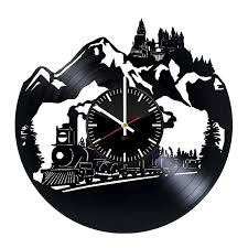 big train design vinyl record wall clock get unique kids rooom