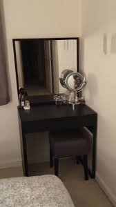Small Vanity Table The Finished Product Ikea Micke Desk With Stave Mirror And Nils