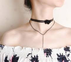long flower necklace images Wholesale black lace flower choker double layer long bar pendant jpg