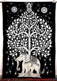 elephant tree tapestry luck white elephant
