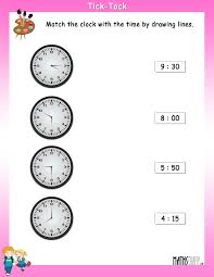 Clock Worksheets Grade 1 Match The Clock With The Time Mathsdiary Com