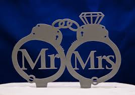 mr and mrs handcuffs wedding cake topper mr and mrs