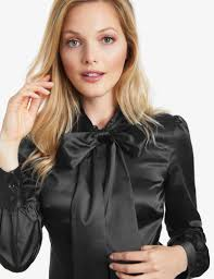 in satin blouses s black fitted satin blouse bow hawes curtis