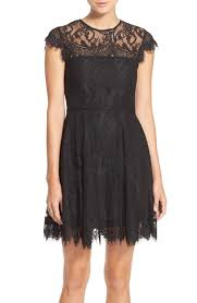 bb dakota bb dakota rhianna illusion yoke lace fit flare dress