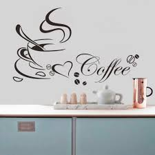 online get cheap wall art restaurant aliexpress com alibaba group coffee cup with heart vinyl quote restaurant kitchen removable wall stickers diy home decor living room wall art wallpaper