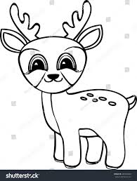 funny cartoon baby deer coloring pages stock vector 487226893