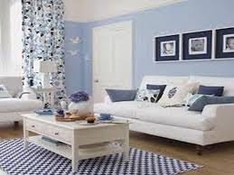 living room interior with shabby chic blue flower pattern curtain