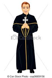 christian priest in cassock holding a cross on white