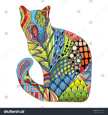 stylized colorful doodle cat hand drawn stock vector 519861889