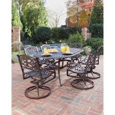 Dining Room Swivel Chairs Home Styles Biscayne Bronze 7 Piece Swivel Patio Dining Set 5555