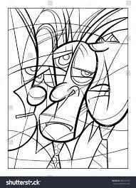 cubist faces fun coloring page vector stock vector 586143737