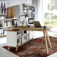 bureau angle bois bureau d angle gauche ou droit scandinave avec rangements malmo