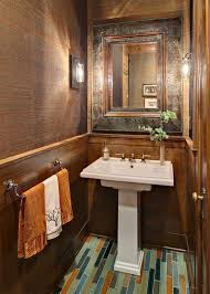 Covering Wood Paneling Pedestal Sink Mirror Ideas Powder Room Traditional With Tile
