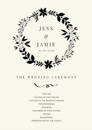 simple wedding program simple black wedding program templates by canva